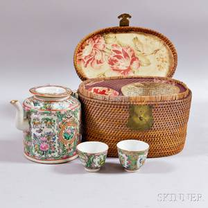 Rose Medallion Porcelain Tea Set with Lined Caned Box