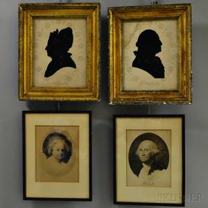 Pair of Framed Reversepainted Silhouettes and a Pair of W Elson  Co Martha and George Washington Prints