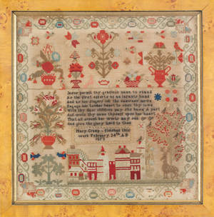Wool on linen sampler wrought by Mary Crump