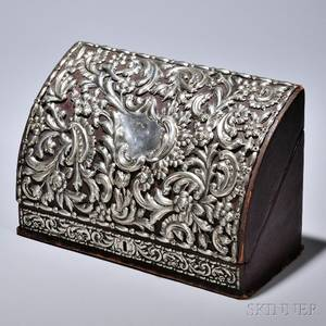 Victorian Sterling Silvermounted Letter Box London 189091 William Comyns maker the leatherclad box with silvermounted floral s