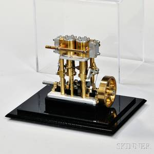 Small Brass and Aluminum Stationary Engine 20th century twin cylinder air or steam brass and aluminum reversible machined engine 1 3