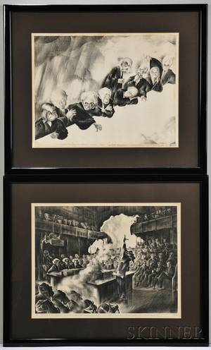 Al Albert Hirschfeld American 19032003 Two Works Nine Old Men of the Supreme Court 1937 signed HIRSCHFELD in pencil lr nu