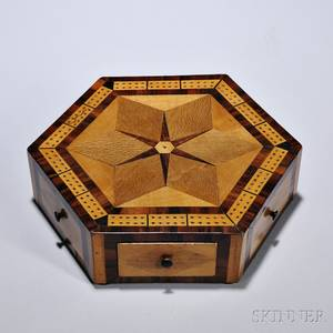 Inlaid Hexagonal Game Board Box England 19th century the top centering a sixpointed star and mahogany crossbanded borders on simil