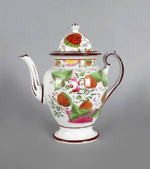 English pearlware coffee pot early 19th c
