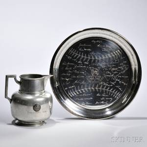 1950s New York Yankees Collectibles mid20th century including an engraved silverplated tray designed as a baseball with signatures