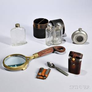 Group of Gentlemans Items late 19thearly 20th century including a pewter flask with engraved sailboat to interior a Universal di