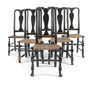 Set of six New England painted Queen Anne maple dining chairs ca 1740
