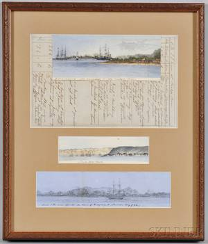 Three Ink or Watercolor and Ink Drawings and a Logbook Page from the Frigate Merrimack