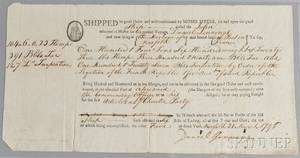 Myers Moses 17531835 Bill of Lading for the Ship John 21 March 1796