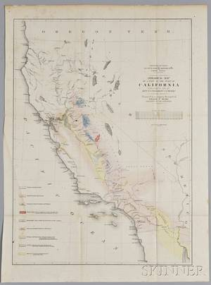 War Department Railroad Survey Geological Map of a Part of the State of California Explored in 1853 by Lieut R S Williamson