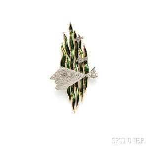 18kt Gold and Enamel Hebe Brooch Georges Braque