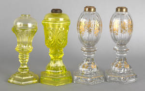 Pair of gilt decorated colorless glass whale oil lamps