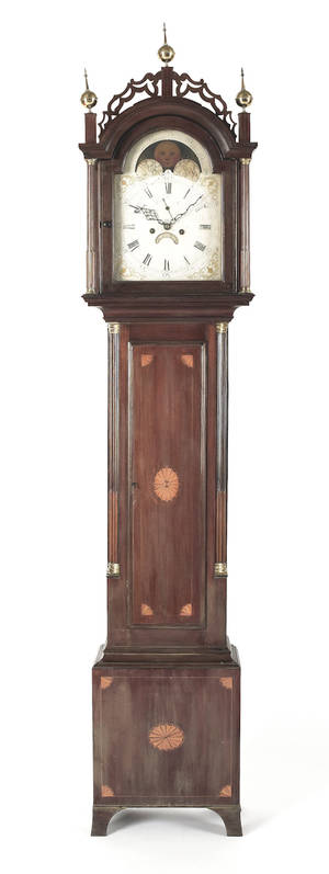 Massachusetts Chippendale mahogany tall case clock ca 1800