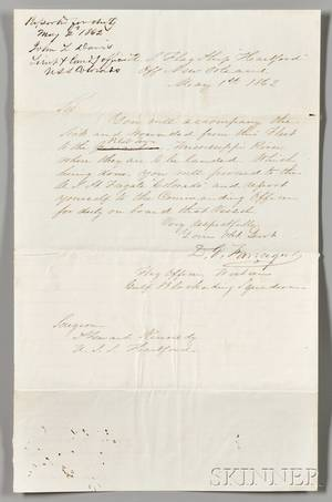 Farragut David Glasgow 18011870 Autograph Letter Signed from the US Flagship Hartford