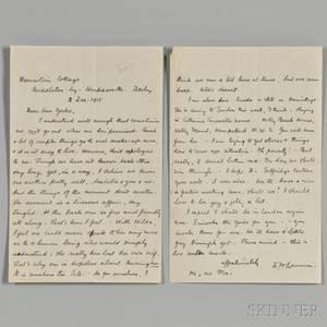 Lawrence David Herbert 18851930 Autograph Letter Signed 2 December 1918