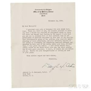 MacArthur Douglas A Typewritten Letter Signed 13 November 1936