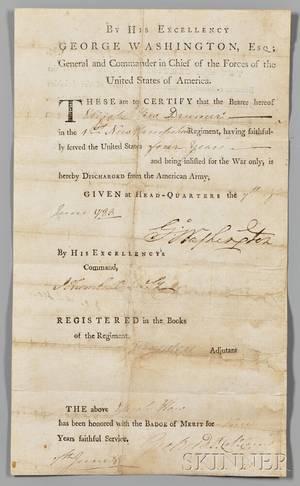 Washington George 17321799 Military Discharge Signed Headquarters Newburgh New York 7 June 1783