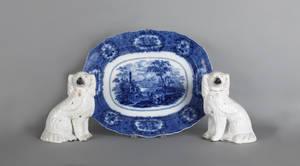 Flow blue oriental platter