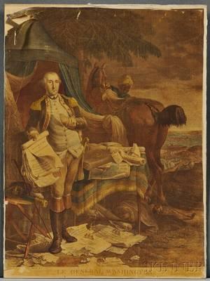 Washington George 17321799 Handcolored Engraved Portrait on Silk Le General Washington
