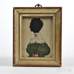 Hollowcut and Watercolor Silhouette of a Woman Holding a Red Book