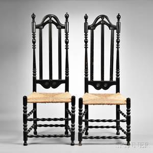 Pair of Tall Blackpainted Bannister Back Side Chairs