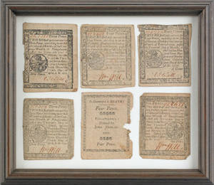 Philadelphia framed document and group of fractional currency signed by William Will late 18th c