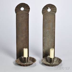 Pair of Tinned Sheet Iron Wall Sconces