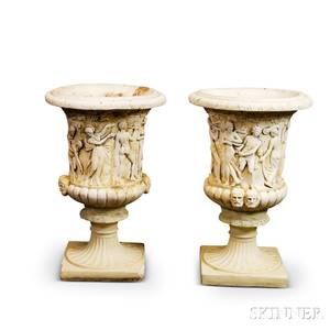 Pair of Neoclassicalstyle Whitepainted Cast Concrete Garden Urns