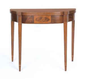 New England Hepplewhite inlaid mahogany card table ca 1800