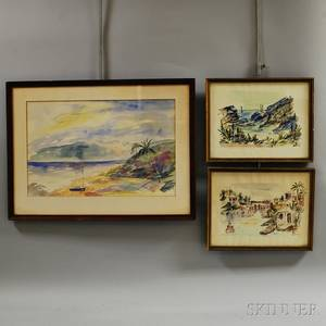Three Framed Alfred Birdsey Bermudian 19121996 Watercolor Landscapes
