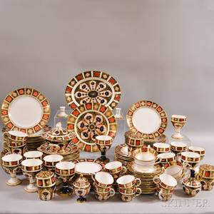 Royal Crown Derby Border Imari and Old Imari Partial Porcelain Dinner Service