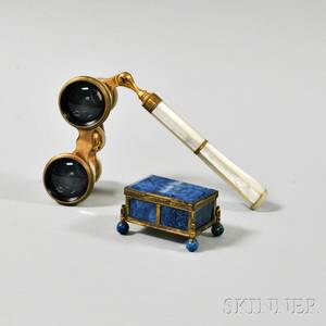 Brassbound Blue Agate Box and a Pair of Motherofpearl Opera Glasses