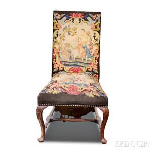 George III Upholstered Mahogany Side Chair