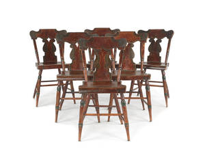 Set of six Pennsylvania painted plank bottom chairs
