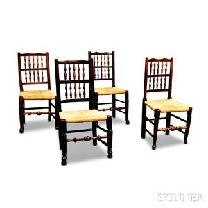 Four English Oak Spindleback Side Chairs