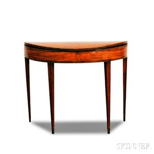 George III Inlaid Mahogany Demilune Card Table