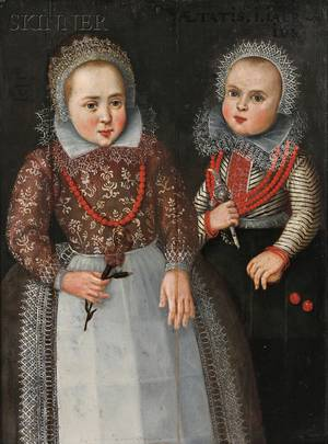 Dutch School 17th Century Portrait of Two Sisters
