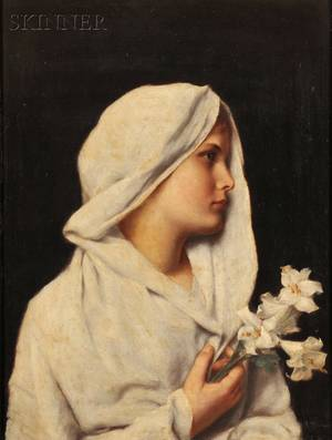 Alfred Seifert Czech 18501901 Profile of a Young Woman Draped in White Holding a Lily
