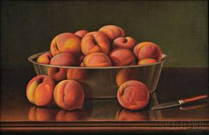 Levi Wells Prentice American 18511935 Still Life with Peaches in a Silver Bowl