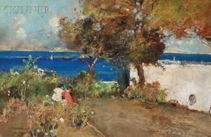 Giuseppe Casciaro Italian 18631945 Children in a Garden in Capri