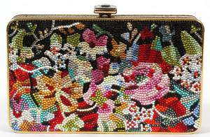 JUDITH LEIBER FULL BEAD FLORAL MINAUDIERE