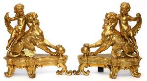 FRENCH GILT BRONZE FIGURAL CHENETS LATE 19TH C