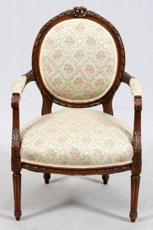 FRENCH LOUIS XVI STYLE WALNUT FAUTEUIL