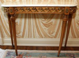 LOUIS XVI STYLE WALNUT CONSOLE TABLE W MARBLE TOP