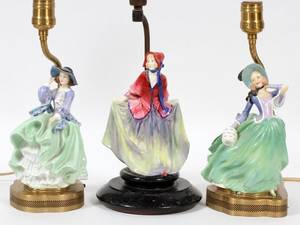 ROYAL DOULTON PORCELAIN FIGURAL LAMPS 3 PIECES
