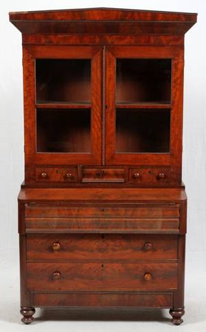 AMERICAN EMPIRE MAHOGANY SECRETARY BOOKCASE C 1840