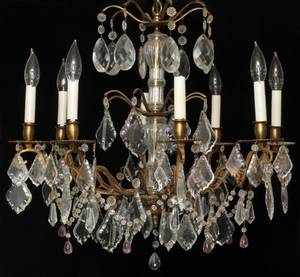 FRENCH CRYSTAL EIGHTLIGHT CHANDELIER LATE 19TH C