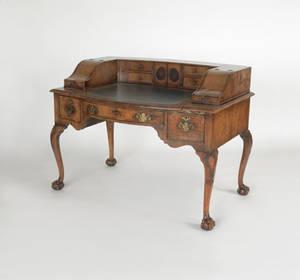 Georgian style burl veneer desk