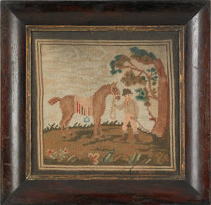 Victorian needlework of a horse and stable hand
