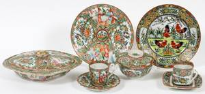 CHINESE ROSE MEDALLION PORCELAIN PLATES  CUPS